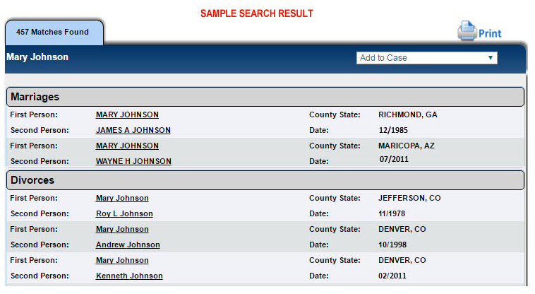 Marriage Filings Search