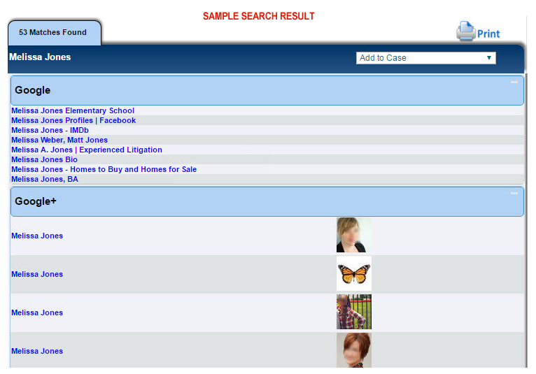Search by Social Media Site